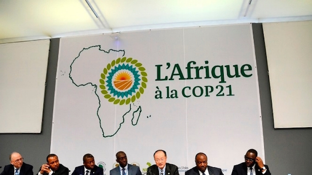 World Bank Group President Jim Yong Kim and Makhtar Diop, Vice President for Africa, present the Africa Climate Business Plan at COP21. They are joined by Jamal Saghir, Ali Bongo Ondimba, Faure Essozimna Gnassingbé, Macky Sall and Patrice Trovoada. Credit: World Bank