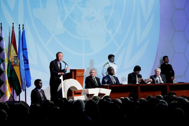 UN Secretary-General Ban Ki-moon addressing a summit of G77 plus China in Santa Cruz, Bolivia in 2014. UN Photo/Evan Schneider