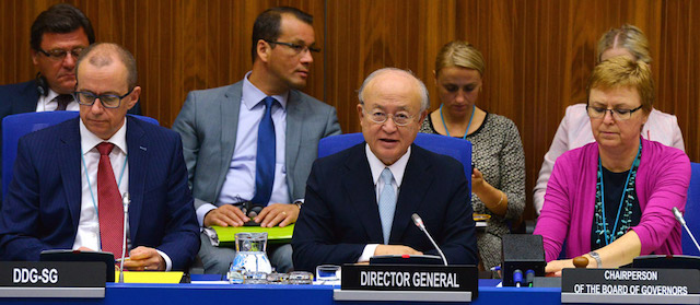 International Atomic Energy Agency (IAEA) Director-General Yukiya Amano (centre) addresses a special meeting of the Agency's Board of Governors on Iran held at its headquarters in Vienna, Austria. Credit: IAEA/Dean Calma