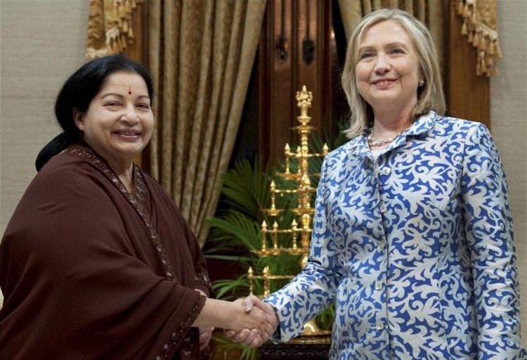 Photo: Hillary Clinton, then U.S. Secretary of State, with Tamil Nadu Chief Minister J. Jayalalithaa (left) on July 20, 2011 in Chennai. Credit: PTI