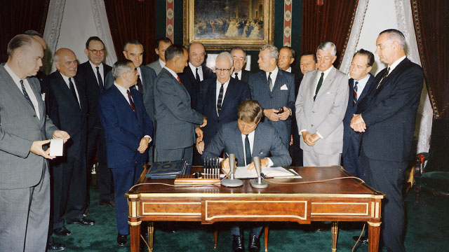 Achieving a nuclear test ban treaty became a major initiative of JFK's presidency. This was during the most dangerous period of the Cold War with the Soviet Union. Credit: CTBTO