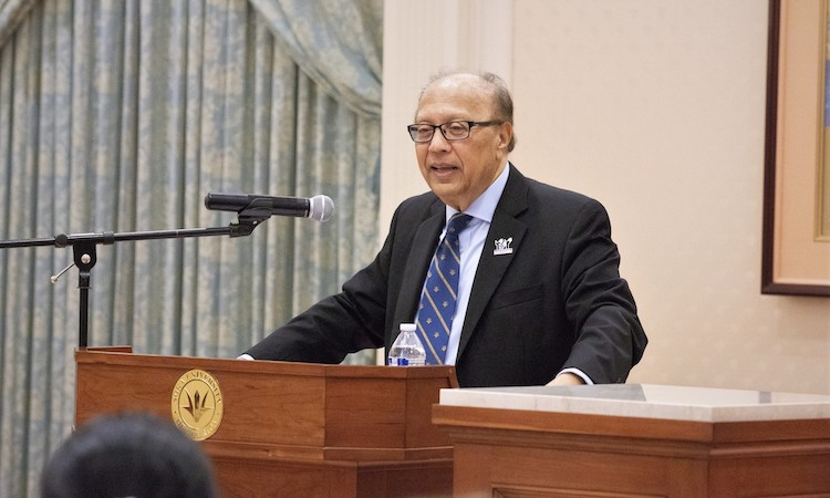 Photo: Ambassador Chowdhury speaking on 2 October 2019 at the Soka University of America (SUA). Credit: Courtesy of SUA photographers.