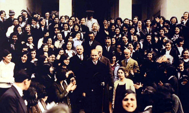 Photo: Mustafa Kemal Atatürk, founder and first President of the Turkish Republic, visiting Istanbul University after its reorganization in 1933 as a mixed-gender institution of higher education with multiple faculties. Wikimedia Commons | Public Domain