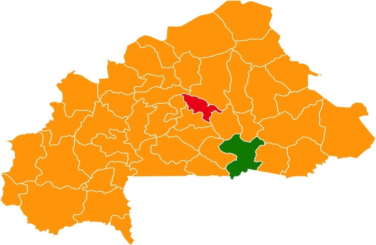 Image: Presidential Election Results by Province. Orange denotes districts won by Kaboré, Red denotes districts won by Komboïgo and Green denotes districts won by Diabré. CC BY-SA 4.0