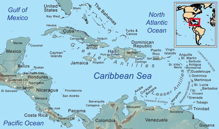 Image: Map of the Caribbean Sea and its islands. CC BY-SA 3.0