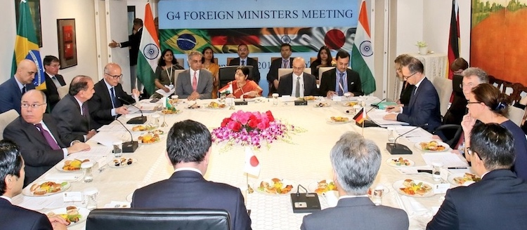Photo: India's External Affairs Minister Sushma Swaraj hosted the G4 Foreign Ministers Meeting of Japan, Germany and Brazil to discuss progress on early reform of the Council, including the expansion of both permanent and non-permanent categories of membership. Credit: Twitter MEA India
