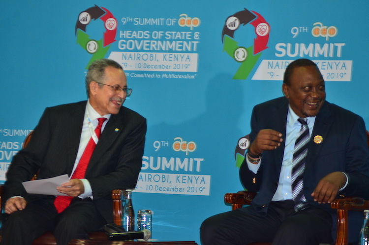 Photo: ACP Secretary General Dr. Patrick I. Gomes with President Uhuru Kenyatta of Kenya at the 9th ACP Summit in Nairobi. Credit: Robert Kibet | IDN-INPS.