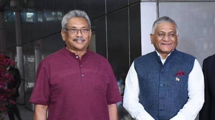 Photo: Sri Lankan President Gotabaya Rajapaksa being received by External Affairs Minister V.K. Singh in New Delhi on November 28, 2019. | Credit: V.V. Krishnan. Source: The Hindu