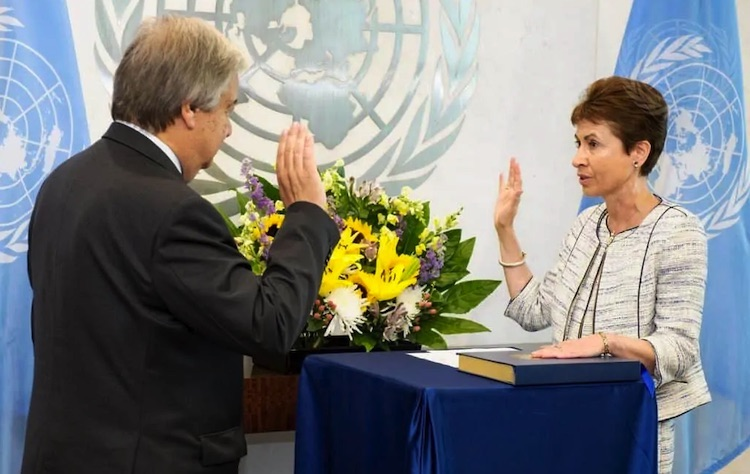 Photo: Secretary-General António Guterres swears in Martha Helena Lopez as assistant secretary-general for human resources management, Aug. 23, 2017. New tensions have flared between the pension fund board, which she chairs, and UN staff representatives on the board. MANUEL ELIAS/UN PHOTO