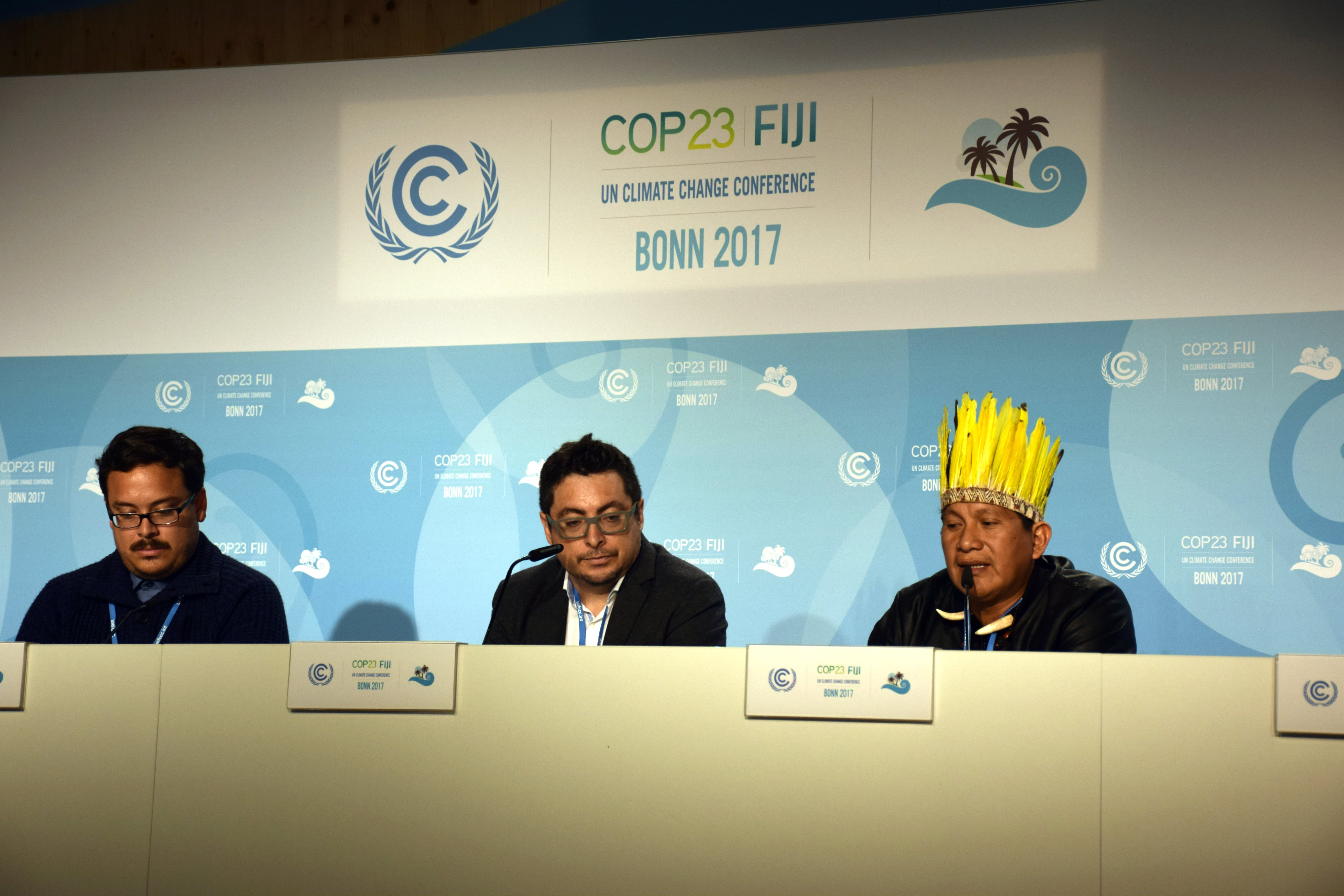 Photo: Leaders from Indigenous communities speak at a press conference in COP 23. Credit: Stella Paul | IDN-INPS