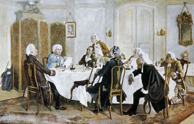 Photo: Kant with friends, including Christian Jakob Kraus, Johann Georg Hamann, Theodor Gottlieb von Hippel and Karl Gottfried Hagen. Public Domain | Wikimedia Commons