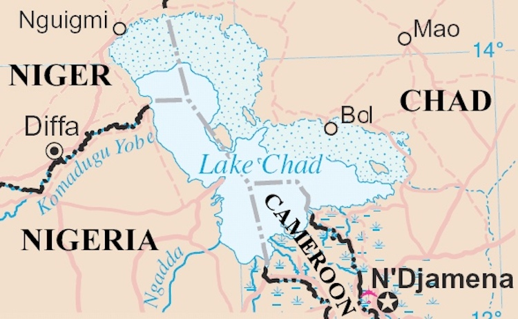 Photo: Lake Chad map. Source: Wikimedia Commons.