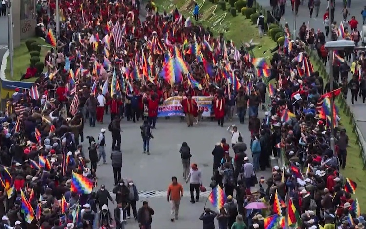 Photo: A march held by pro-Morales protestors in La Paz on 14 November 2019. Credit: Wikimedia Commons.