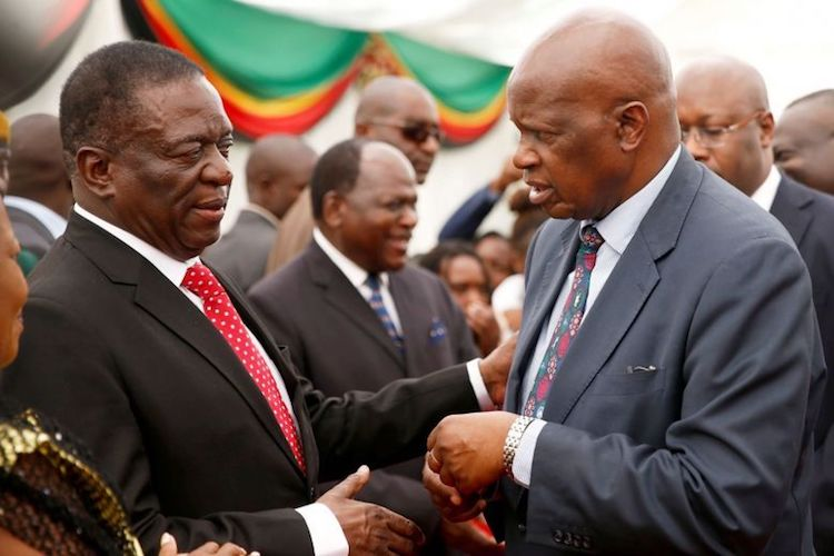 Photo: Zimbabwe's new president Emmerson Mnangagwa (left) with finance minister Patrick Chinamasa (right), who held that portfolio also under former President Mugabe. Credit: zimbabweelection.com