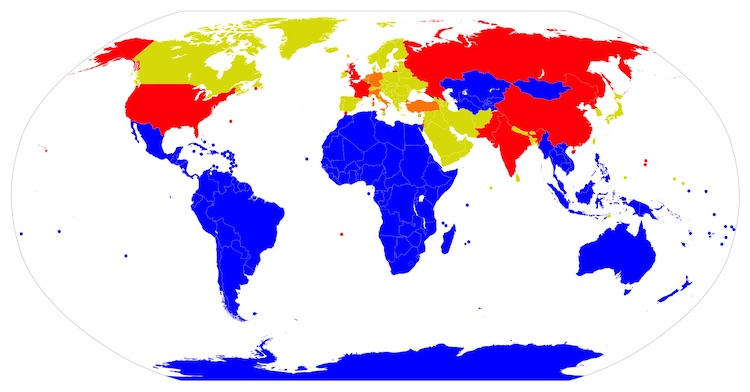 Image:  Nuclear-Weapon-Free Zones (Blue); Nuclear weapons states (Red); Nuclear sharing  (Orange); Neither, but NPT (Lime green). CC BY-SA 3.0
