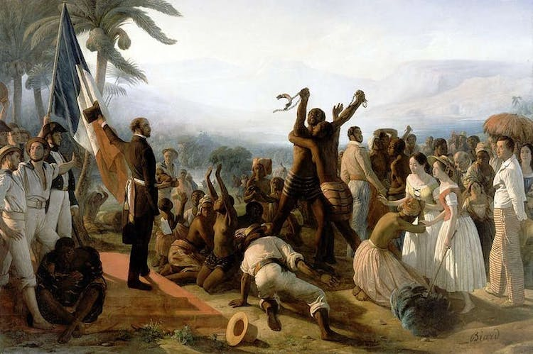 Photo: François-Auguste Biard, Proclamation of the Abolition of Slavery in the French Colonies, 27 April 1848 (1849). Credit: Wikimedia Commons
