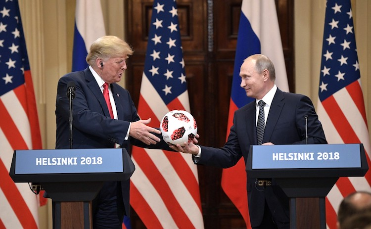 Photo: Putin gifts Trump a Telstar Mechta, the official match ball for the knockout stage of the 2018 FIFA World Cup. CC BY 4.0