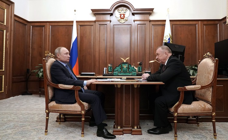Photo: President Vladimir Putin (left) with Mr. Sergei Katyrin, Head of the CCI-Chamber of Commerce and Industry (left).