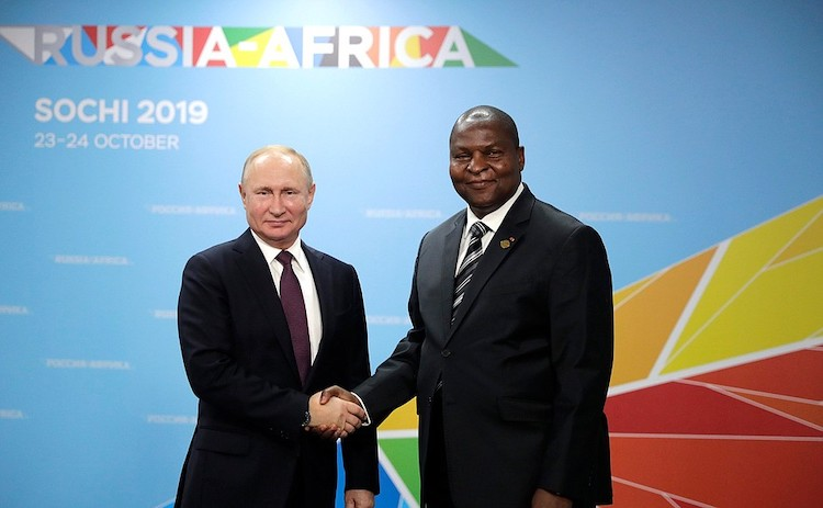 Photo: The first Russia-Africa summit: Vladimir Putin with the Central African Republic President Faustin-Archange Touadera.