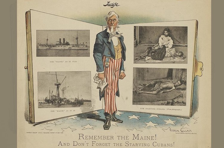"Photo: American cartoon, published in 1898: ""Remember the Maine! And Don't Forget the Starving Cubans!"" Source: Wikimedia Commons"