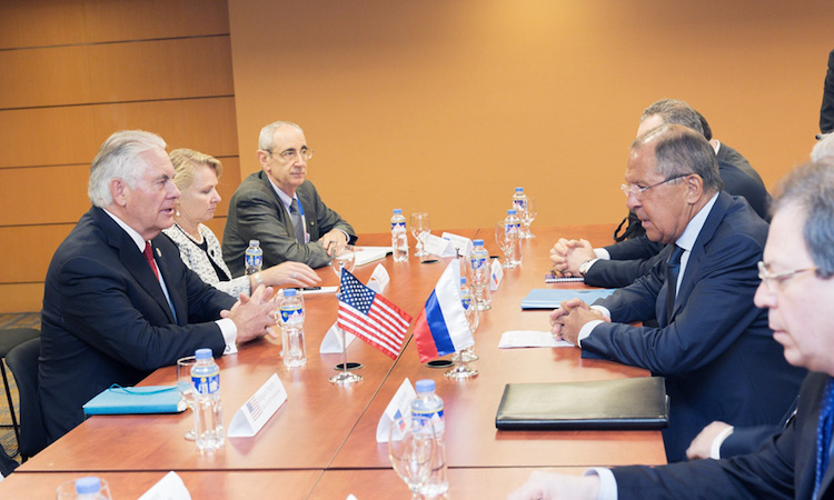 Photo: U.S. Secretary of State Rex Tillerson meets with Russian Foreign Minister Sergey Lavrov, in Manila, Philippines on August 6, 2017. (Photo credit: U.S. Department of State/Public Domain)