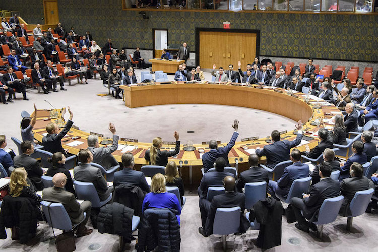 Photo: The Security Council unanimously adopts resolution 2397 (2017), condemning in the strongest terms the ballistic missile launch conducted by the DPRK on 28 November 2017 in violation and flagrant disregard of the Security Council's resolutions on non-proliferation. UN Photo/Manuel Elias