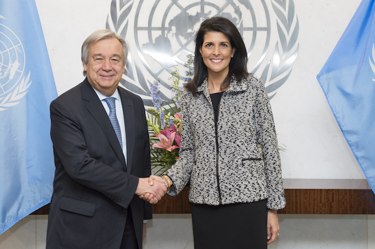 Photo: Nikki R. Haley, new United States Permanent Representative to the United Nations presented her credentials to Secretary-General António Guterres on 27 January 2017.