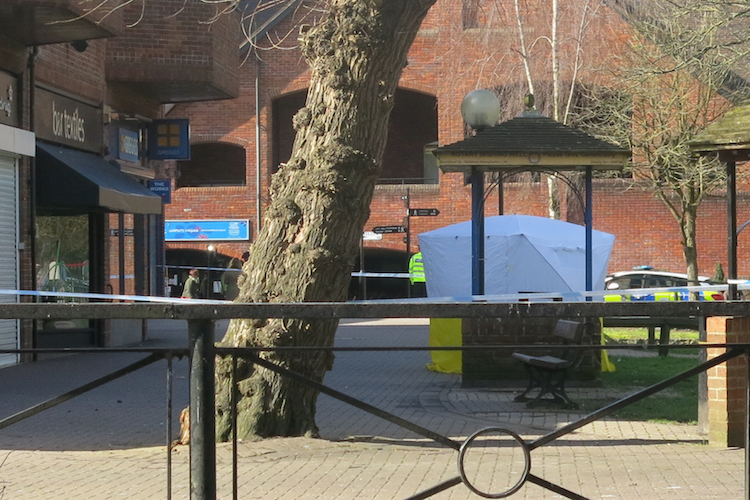 Photo: A forensics tent covers the bench where Sergei and Yulia Skripal fell unconscious. CC BY 2.5