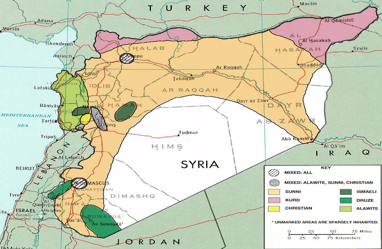 Image: The ethno-religious composition of Syria. Credit: Institute for the Study of War. Public Domain.