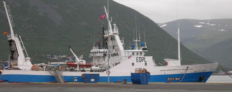 Photo: Trawler arrested in 2016 by the Norwegian Coast Guard for illegal fishing. Source: Wikimedia
