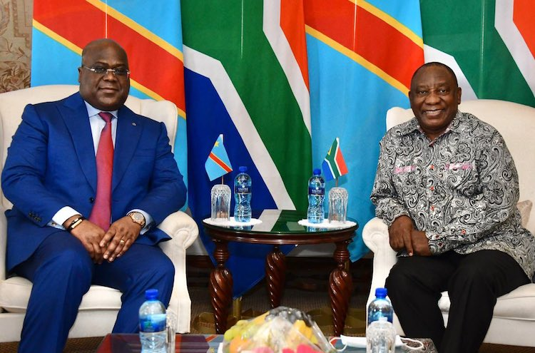 Photo: DRC President Felix-Antoine Tshisekedi Tshilombo as he assumes the post just relinquished by South African leader Cyril Ramaphosa. @GovernmentZA