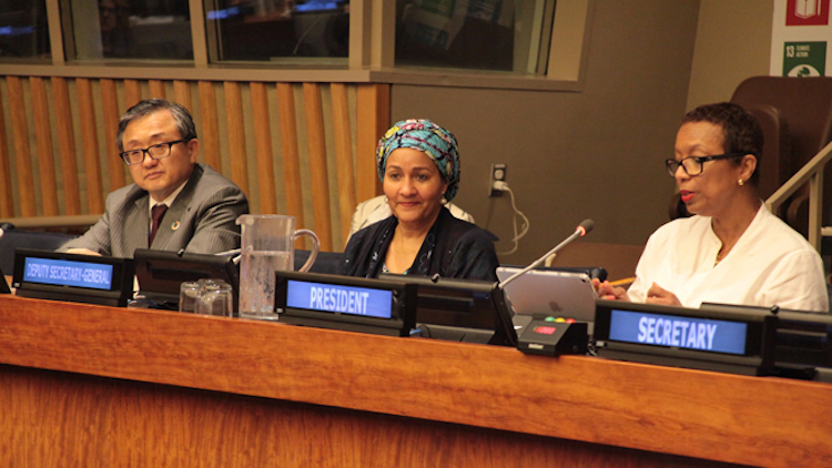 Photo (right to left): ECOSOC President Inga Rhonda King; Deputy Secretary-General Amina Mohammed; Under-Secretary-General of the UN Department of Economic and Social Affairs (UNDESA), Liu Zhenmin. Credit: UN