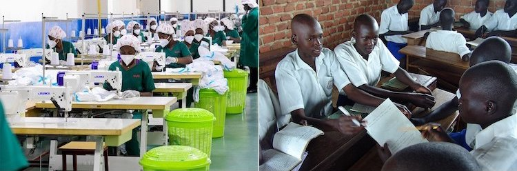 Photo: The youth everywhere in Africa want change. The collage of pictures shows (left) Uganda textile workers at Nytil a local factory that produces textiles for the local market and for export taken in December 2020 and (right) Uganda students (from Wikimedia Commons) taken in January 2018.