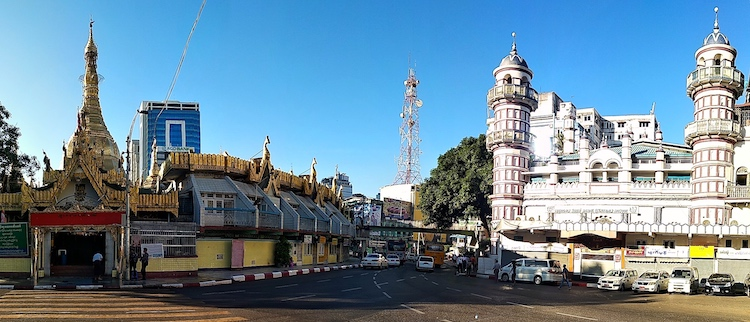 Photo: The Sule Pagoda and Bengali Sunni Central Mosque located side by side in Central Yangon. Credit: Kalinga Seneviratne | IDN-INPS