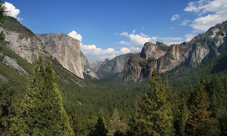 Photo: Yosemite National Park in California, one of the first protected areas in the United States. Trump's climate change denial, withdrawal from the Paris Agreement, and sponsorship of the fossil fuel industry pose the greatest threats to human society and the biosphere. Source: Wikimedia Commons.