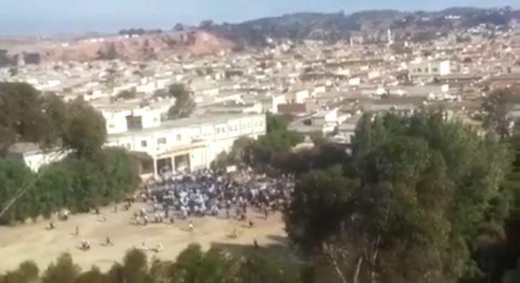 Photo: Screenshot of a video depicting the demonstration and shooting at the Al Diaa Islamic School in Asmara, Eritrea, October 2017. Source: HRW | 2017 Private.
