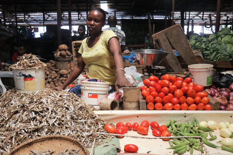 Aisha Shaaban sits in her wooden stall at Mchikichini market in Dar es Salaam waiting for her customers. She's among women recently trained on women empowerment and how to avoid Gender violence. Credit: Kizito Makoye | IDN-INPS