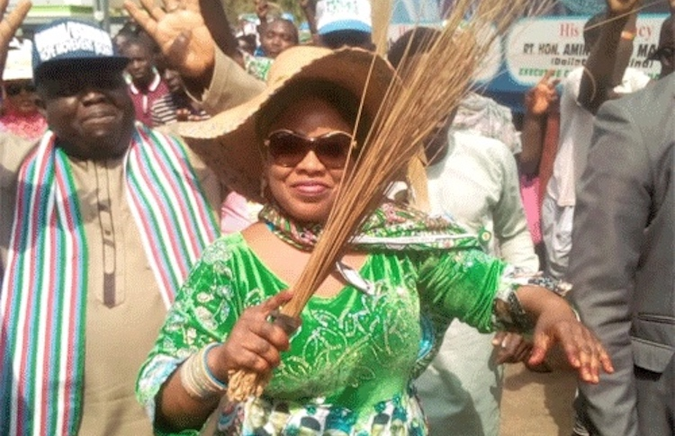 Photo: A political Advocacy Road show for reelection of Buhari, led by Dr. Ramatu Tijjani Aliyu, a foremost Buhari loyalist, who is also a member of the Presidential Campaign Council and the National Women Leader of the Presidential Support Committee. Credit: Vanguard.