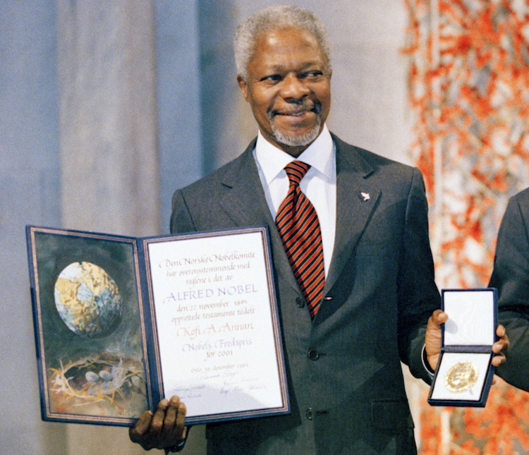 Photo: On December 10, 2001, the United Nations and its Secretary-General, Kofi Annan, received the Nobel Peace Prize in Oslo, Norway, on the 100th anniversary of the prestigious award. UN Photo/Sergey Bermeniev