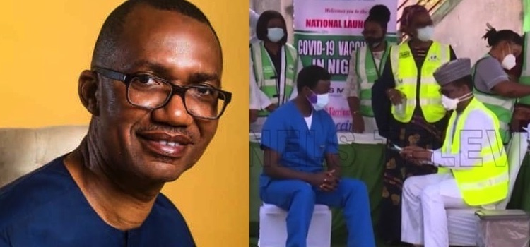 Photo: A collage of pictures of Azu Ishiekwene, the writer, and Nigeria's Channel TV showing the first Nigerian being vaccinated.