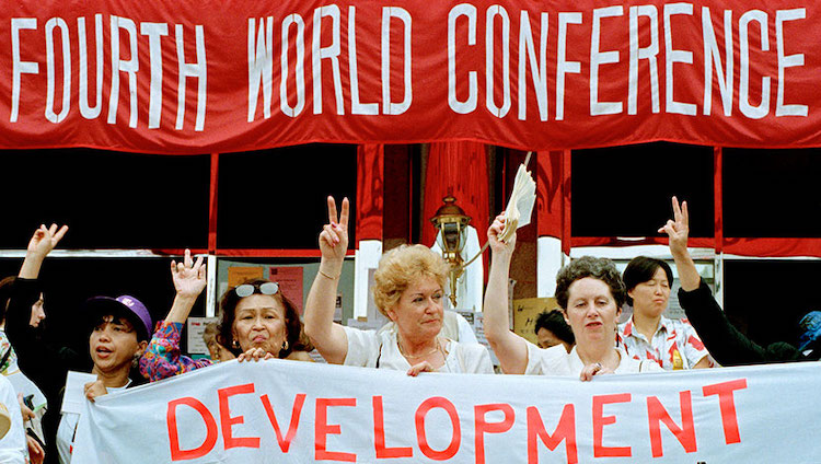 Photo: Participants at the Non-Governmental Organizations Forum meeting held in Huairou, China, as part of the United Nations Fourth World Conference on Women held in Beijing, China on 4-15 September 1995. UN Photo/Milton Grant