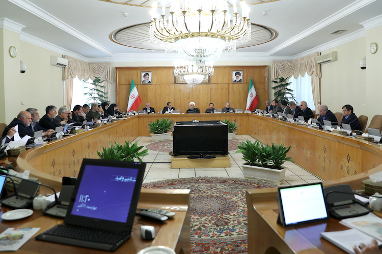 Photo: President Rouhani chairing the cabinet session. Credit: President's website www.president.ir/en