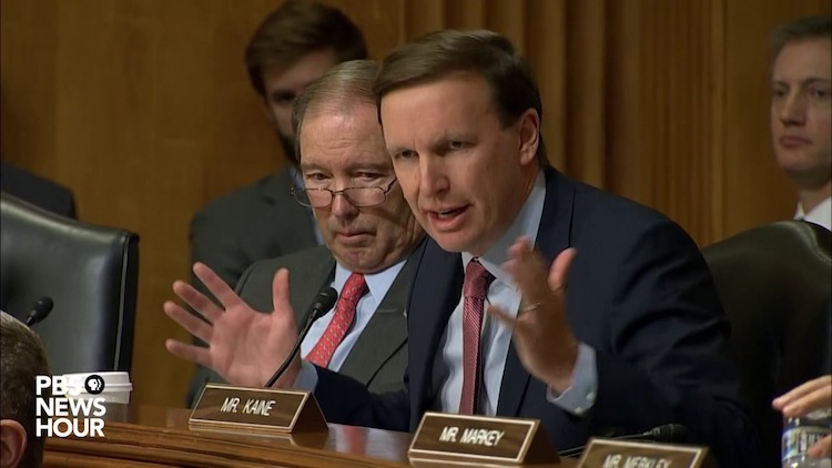 Photo: Sen. Chris Murphy, D-Conn., asks about the president's nuclear authority at November 14 Senate Foreign Relations Committee hearing. Credit: PBS Newshour