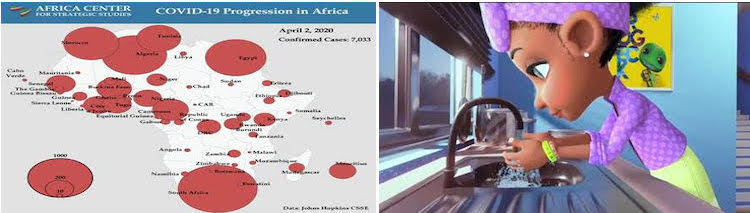 Collage of coronavirus affected Africa and animated video by INPS-IDN.