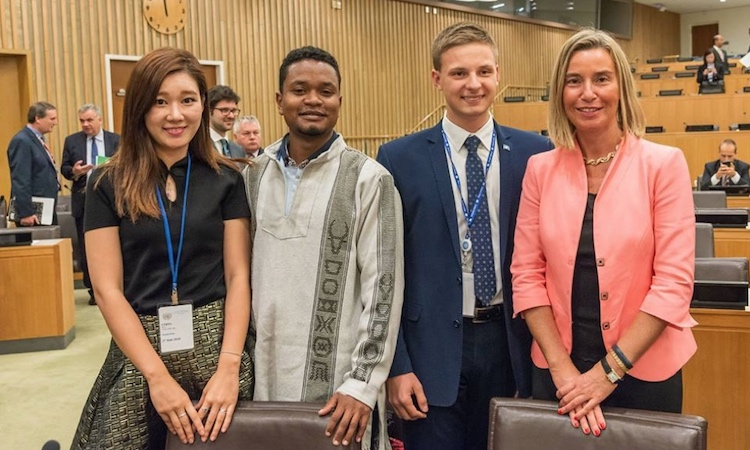 Photo: Ilya Kursenko second from right with Federica Mogherini, High Representative of the European Union for Foreign Affairs and Security Policy, and two other members of the CTBT Youth Group.