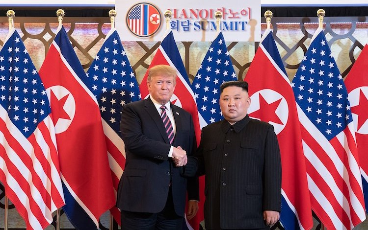 Photo: President Donald Trump is greeted by North Korean leader Kim Jong Un on  February 27, 2019, at the Sofitel Legend Metropole hotel in Hanoi, for their second summit meeting. (Official White House Photo by Shealah Craighead)