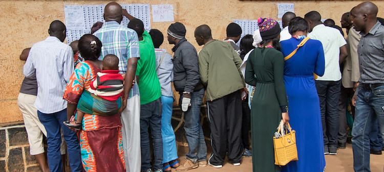 Photo: Voters look for their names in the lists during Presidential and Legislative elections in in the Democratic Republic of the Congo (30 December 2018). Credit: MONUSCO/Alain Likota