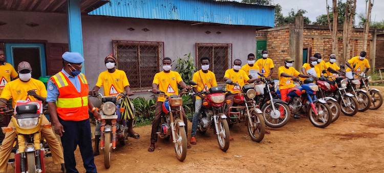 Photo: Some 300 drivers, including motorcycle taxi drivers, in Bangui, Central African Republic, received information about preventive measures to fight the Coronavirus. Credit: MINUSCA/Biliaminou A. Alao