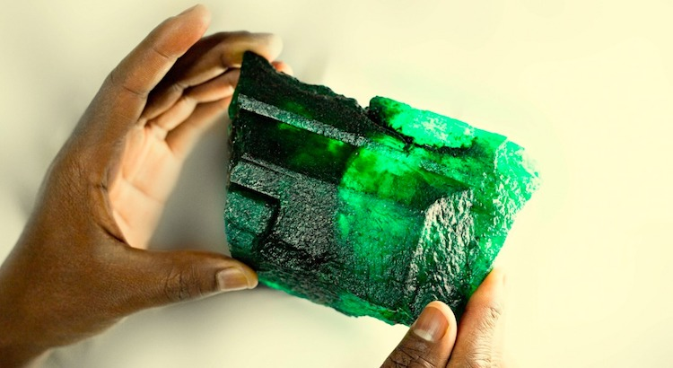 Photo: An exceptionally rare high quality 5,655 carat (1.13kg) emerald crystal discovered at Kagema mine in Lufwanyama. Source: Zambia Reports.