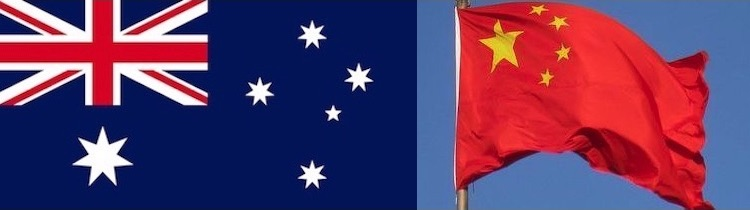 Image: Collage of flags of Australia and China from Wikipedia Commons.